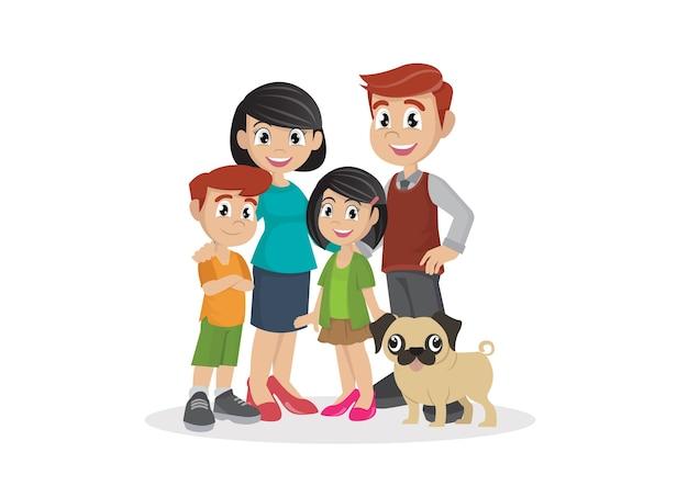 Família com filhos. Vetor Premium