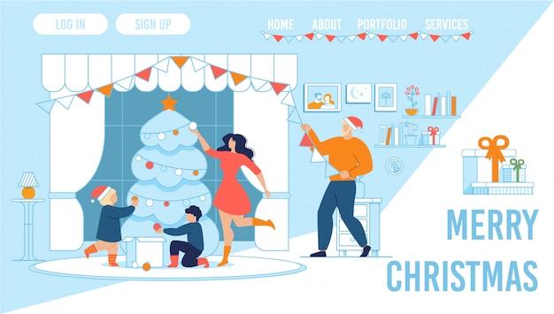 Família comemorando o natal em casa landing page Vetor Premium