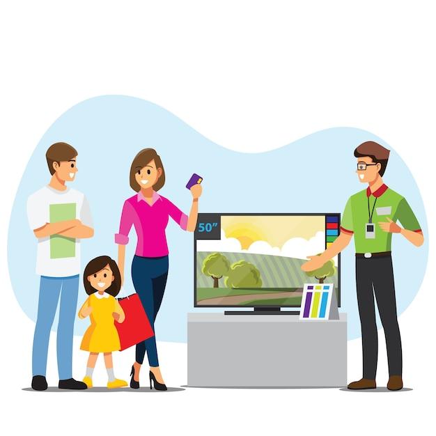 Família comprando tv em uma loja de eletrônicos Vetor Premium