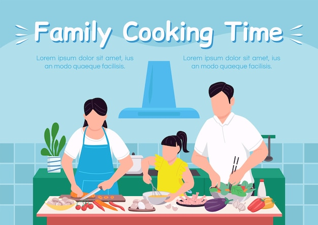 Família cozinhar tempo banner modelo plano. criar vínculo com a criança. passe um tempo de qualidade com os pais. folheto, projeto de conceito de uma página de livreto com personagens de desenhos animados. panfleto culinário, folheto Vetor Premium