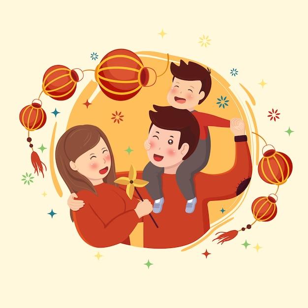 Família de ano novo lunar com lanterna e fogo de artifício Vetor Premium
