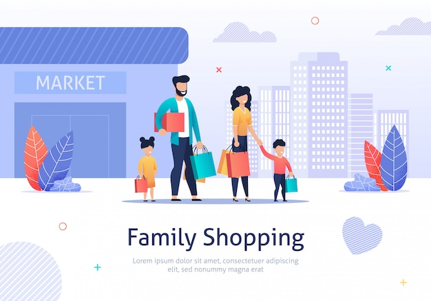 Família de compras com pacotes, caixas perto do mercado. Vetor Premium