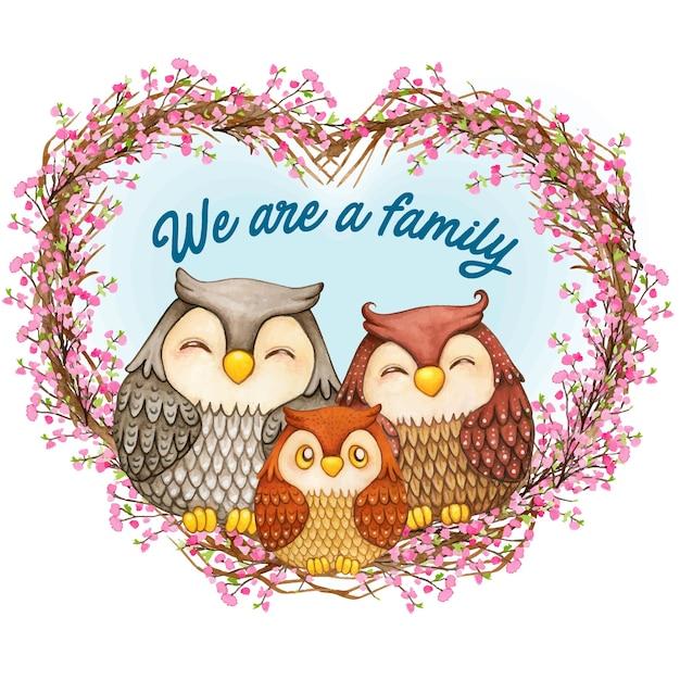 Família de coruja bonita em aquarela em uma coroa de flores Vetor Premium