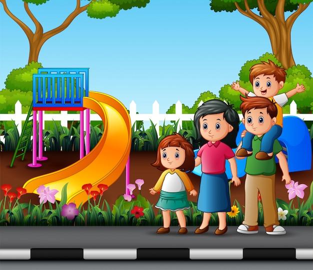 Família de desenho animado no parque da cidade Vetor Premium