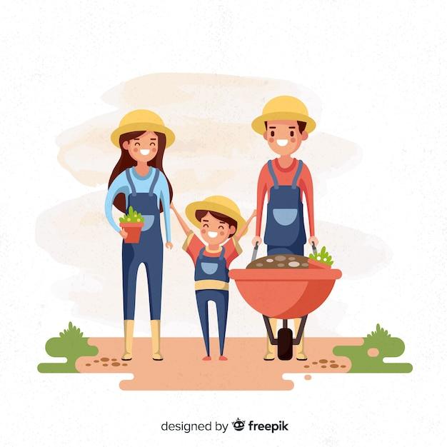 Família de fundo trabalhando na fazenda Vetor grátis