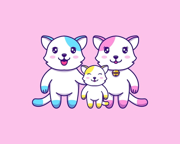 Família de gatos fofos Vetor Premium