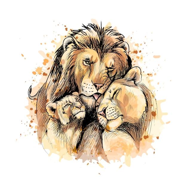 Família de leões de um toque de aquarela, esboço desenhado à mão. ilustração de tintas Vetor Premium