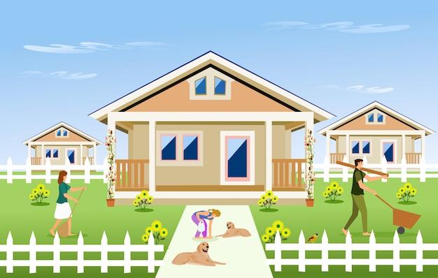 Família de pais e filhos limpar o jardim em frente da casa Vetor Premium