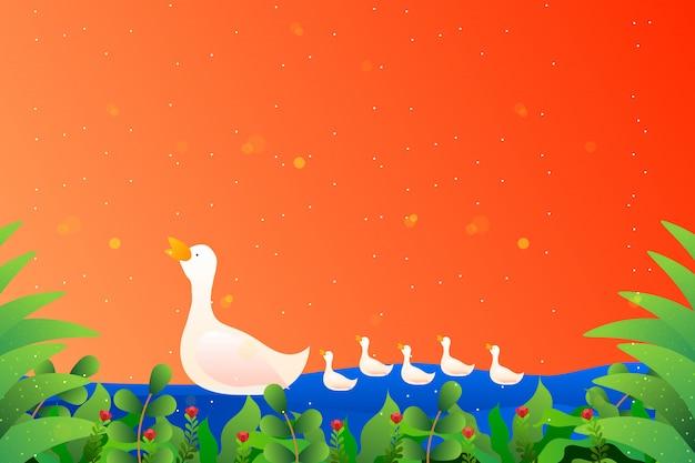 Família de pato branco Vetor Premium