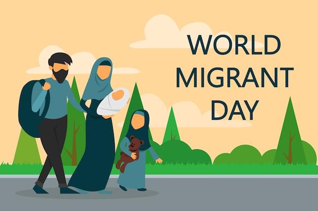Família de refugiados caminhando na estrada. dia mundial do migrante. Vetor Premium