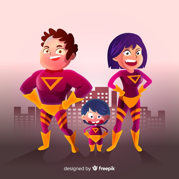 Família de super-heróis Vetor grátis