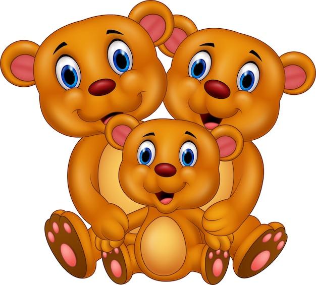 Família De Urso Feliz Dos Desenhos Animados