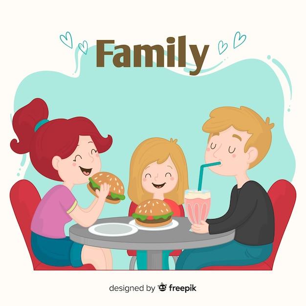 Família desenhada de mão comendo burguers juntos Vetor grátis