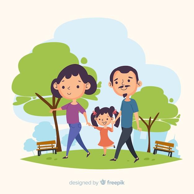 Família desenhada de mão no parque Vetor grátis