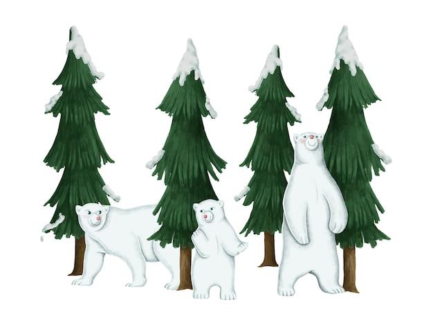 Família desenhada mão de ursos polares brancos Vetor grátis