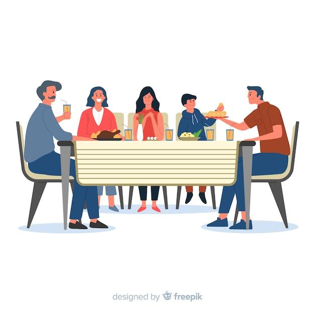 Família desenhada mão, sentados ao redor do fundo da tabela Vetor grátis