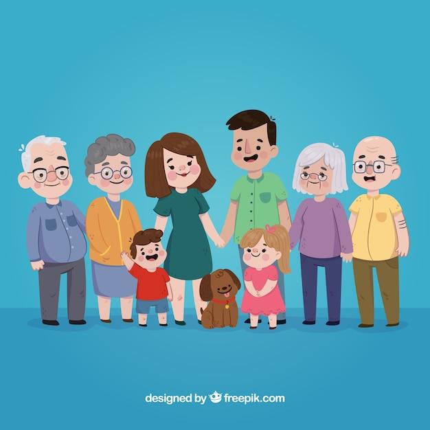 Família desenhada mão Vetor grátis