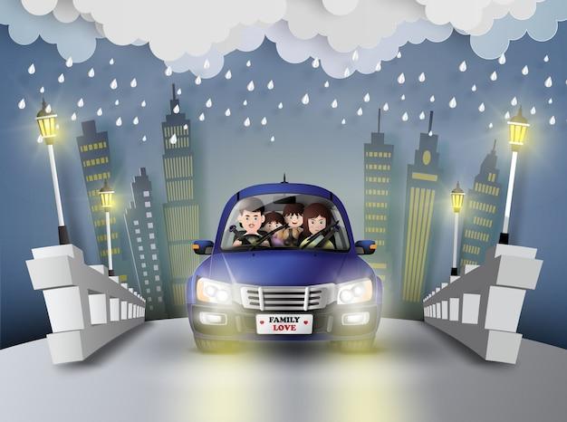 Família dirigindo carro. Vetor Premium