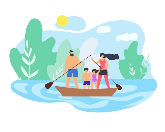 Família do fim de semana do verão no vetor bonito do lago. Vetor Premium