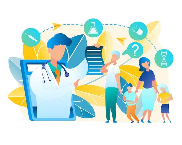 Família do vetor girada para o pediatra do doutor da ajuda. ilustração homens e mulheres consultar on-line com o médico. menino e menina, segurando a barriga dolorida. medicina on-line usando a comunicação do tablet com o médico do homem Vetor Premium