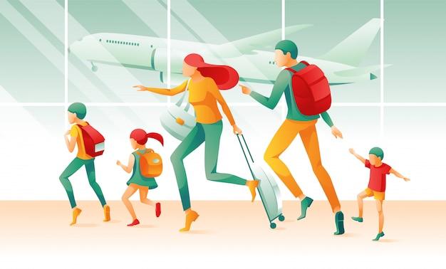Família dos desenhos animados na pressa terminal terminal do aeroporto Vetor Premium