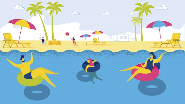 Família dos desenhos animados, relaxando no anel flutuante no mar Vetor Premium