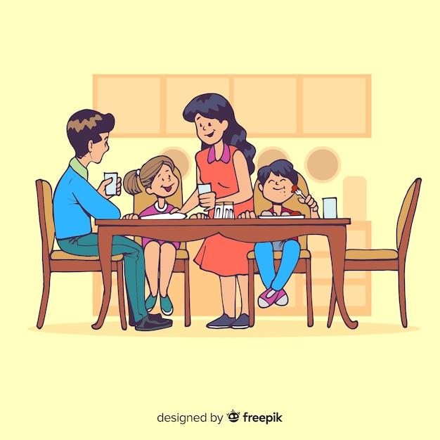 Família dos desenhos animados, sentados ao redor da ilustração da mesa    Vetor Grátis