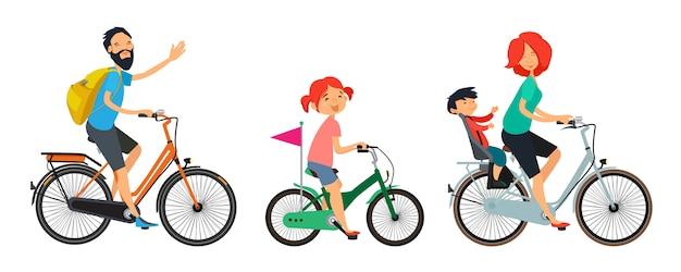 Família em bicicletas a pé. masculina e feminina, andar de bicicleta. Vetor Premium