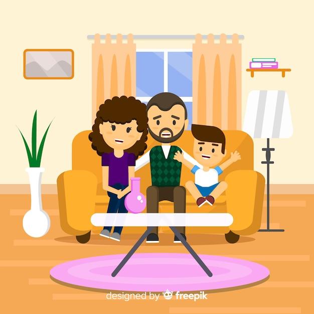 Família em casa Vetor grátis