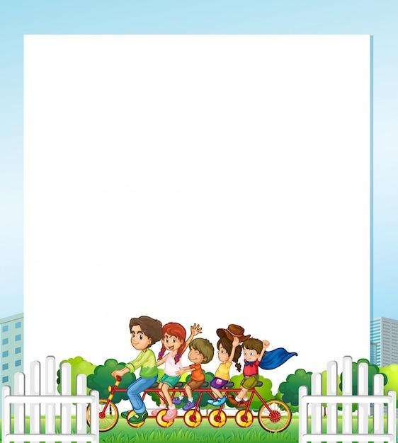 Família, em, parque, fundo, ilustração Vetor grátis