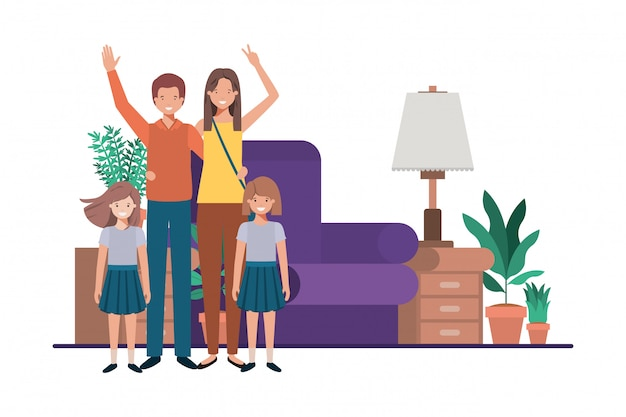 Família em personagem de avatar de sala de estar Vetor Premium