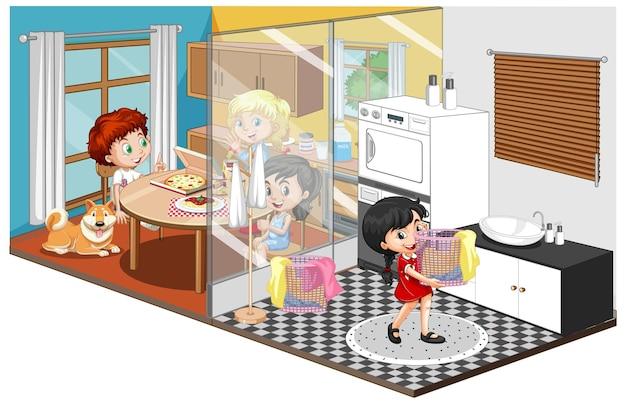 Família em quartos diferentes isolados no branco Vetor grátis