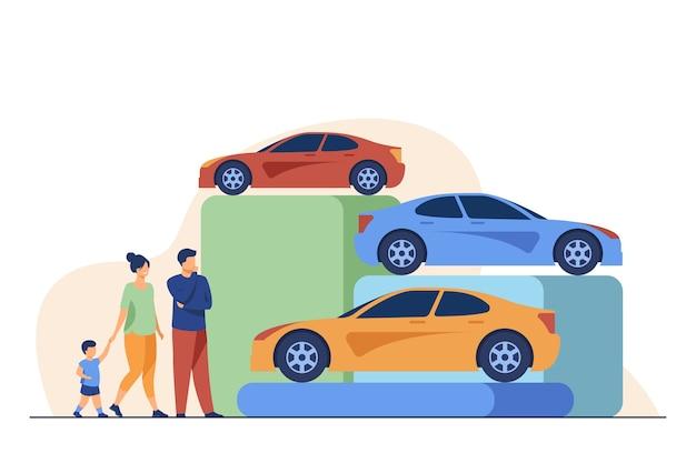 Família escolhendo carro novo na loja de automóveis. veículo, criança, ilustração em vetor plana auto. conceito de compras e transporte Vetor grátis