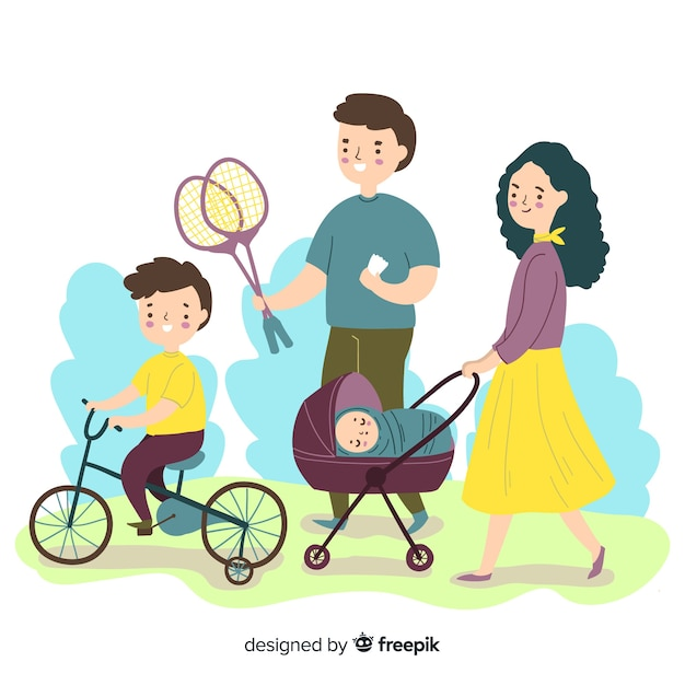 Família fazendo atividades ao ar livre Vetor grátis