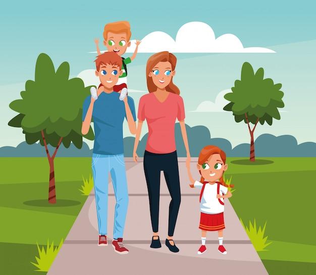 Família feliz andando com crianças sobre a paisagem Vetor Premium