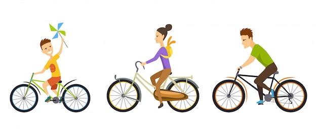 Família feliz. andar de bicicleta ao longo da estrada no cenário natural. Vetor Premium