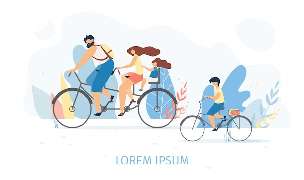Família feliz, andar de bicicleta juntos conceito vector plana Vetor Premium