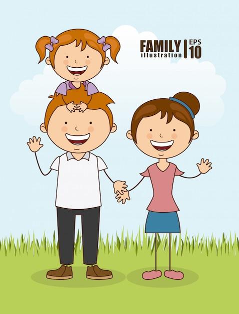 Família feliz ao ar livre Vetor grátis