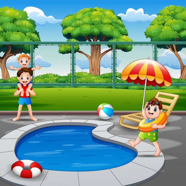 Família feliz brincando na piscina Vetor Premium