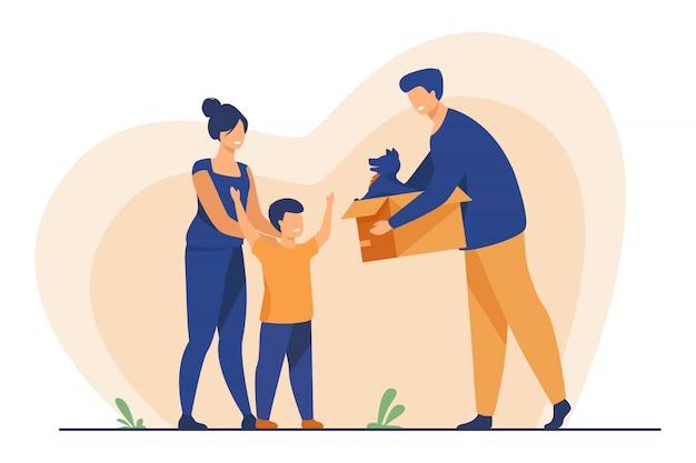 Família feliz com criança adotando animal de estimação Vetor grátis