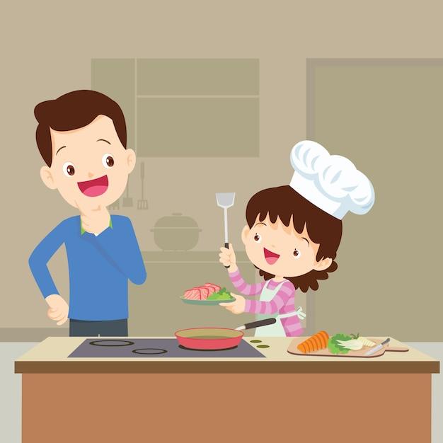 Família feliz, com, papai, lokking, daughtercooking, em, cozinha, vetorial, caricatura, ilustração Vetor Premium