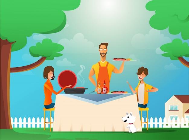 Família feliz comendo churrasco ao ar livre Vetor Premium