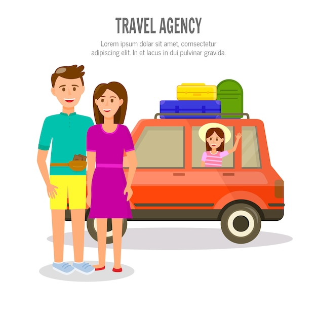 Família feliz de pais e menina viajar de carro Vetor Premium