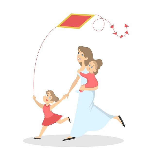 Família feliz, divirta-se. mãe com bebê e criança brincam com uma pipa. atividade de verão. ilustração Vetor Premium