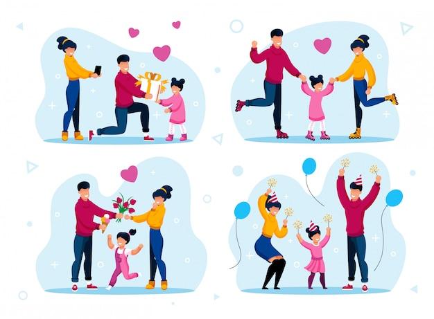 Família feliz e memórias positivas planas Vetor Premium