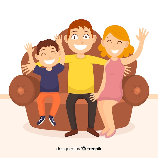 Família feliz em casa conceito Vetor grátis