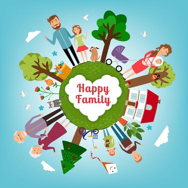 Família feliz em toda a terra. filho e pai, filho e amor, mãe e pai. ilustração vetorial Vetor grátis