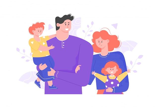 Família feliz está de pé juntos. abraço e sorriso. pessoas alegres: pai, mãe e dois filhos. Vetor Premium