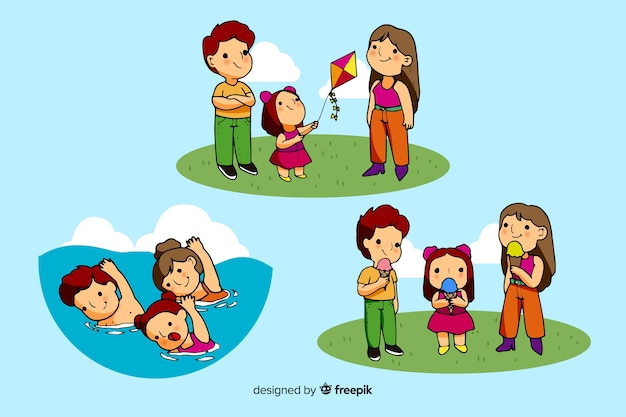 Família feliz fazendo atividades ao ar livre. design de personagem Vetor grátis