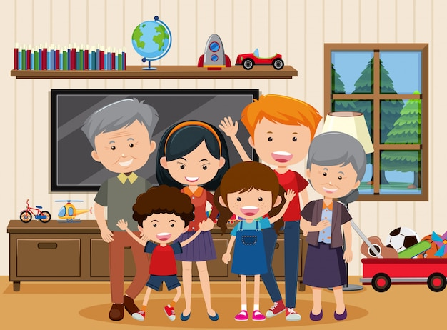 Família feliz, ficar juntos em casa Vetor Premium